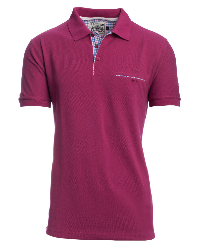 Short sleeve polo-shirt, PURPLE piqué with pocket - Ethnic Blue