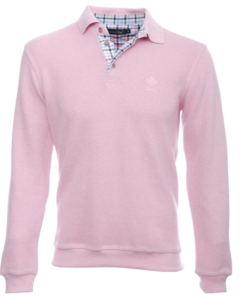 Long sleeve polo-shirt, PINK soft touch 3XL - 4XL - Ethnic Blue