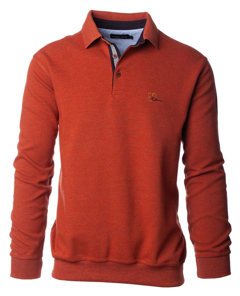 Polo homme manches longues, ORANGE maille ottoman - Ethnic Blue