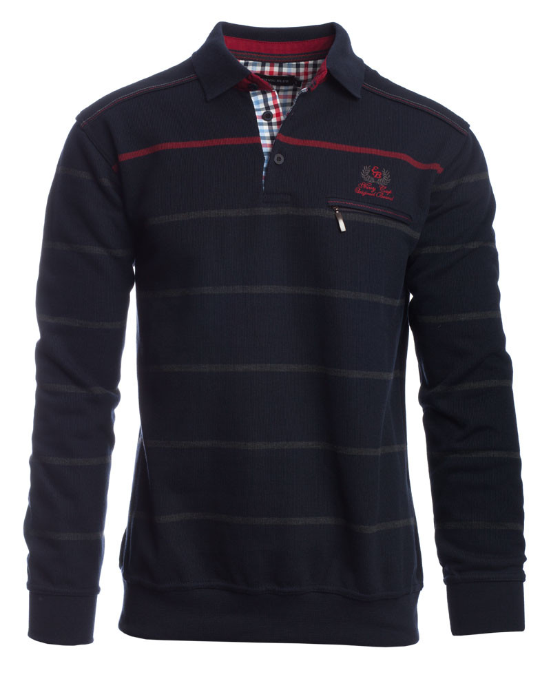 Polo rayé MARINE / GRIS / ROUGE - Ethnic Blue