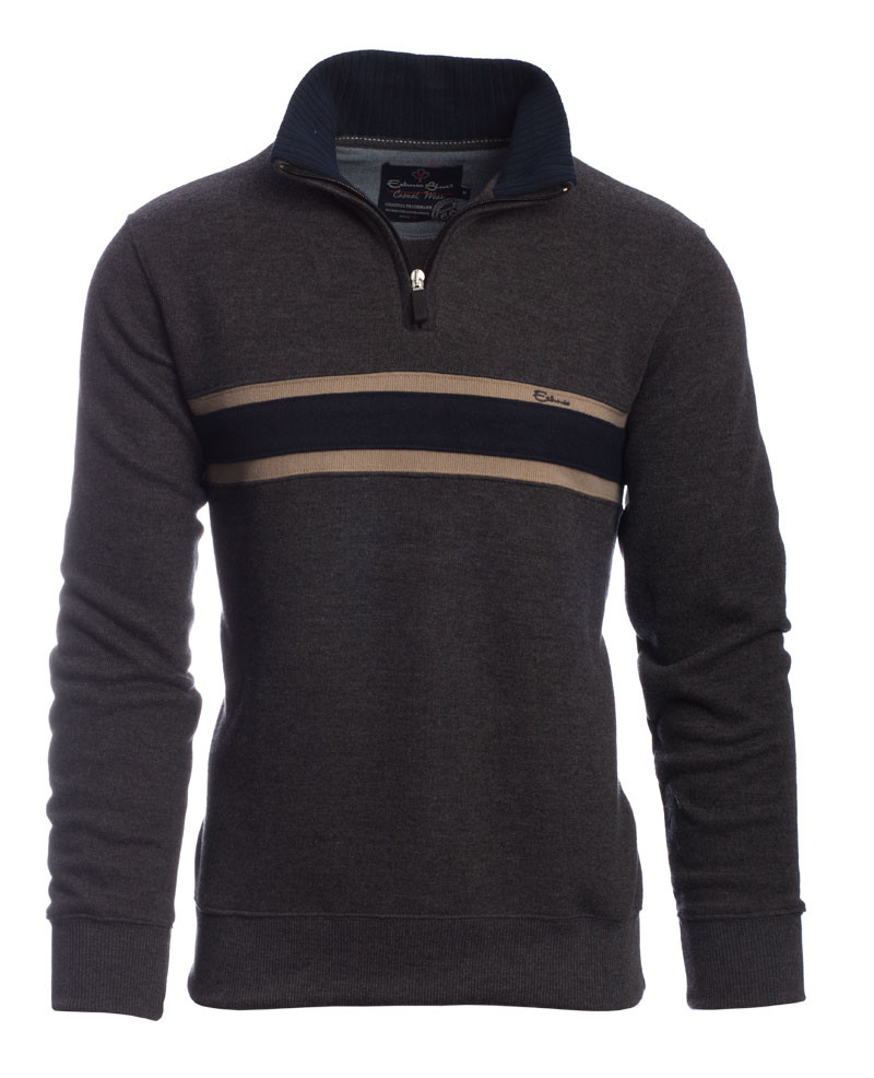 Zip neck sweater GREY with NAVY stripe - Ethnic Blue