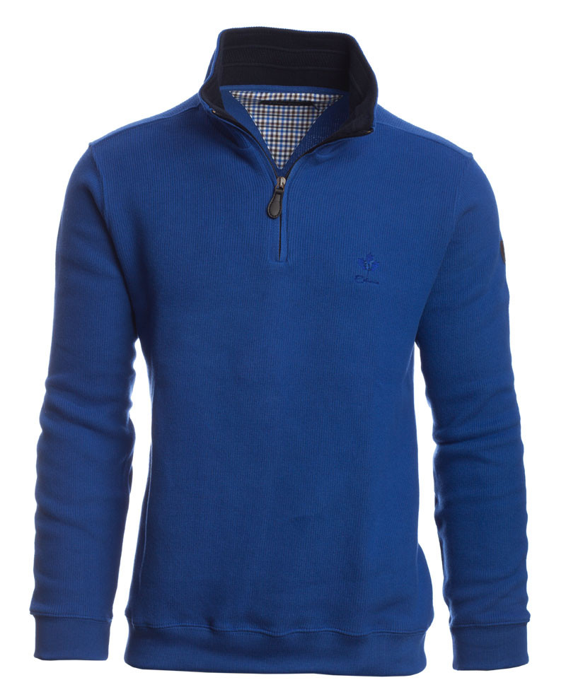 Sweat col zip uni BLEU FRANCE - Ethnic Blue