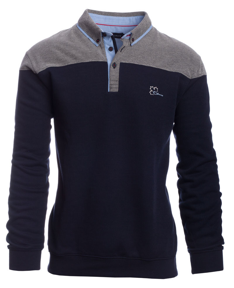 Long sleeve polo two colours, NAVY GREY - Ethnic Blue
