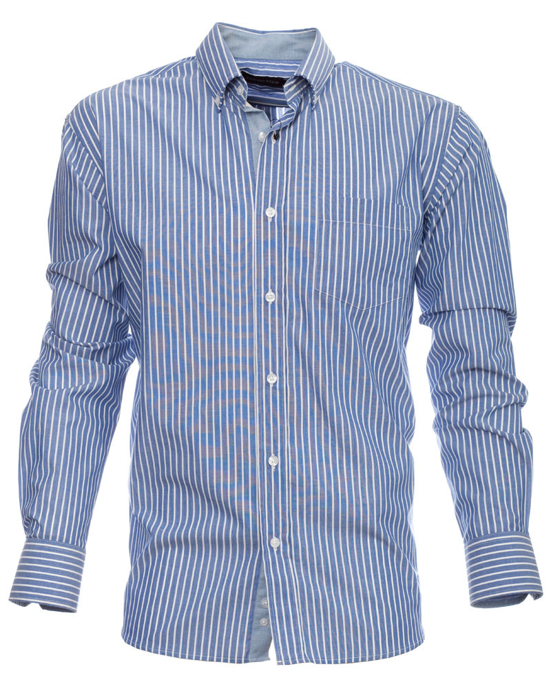 Long sleeve shirt, POCKET, sky blue white stripes - Ethnic Blue