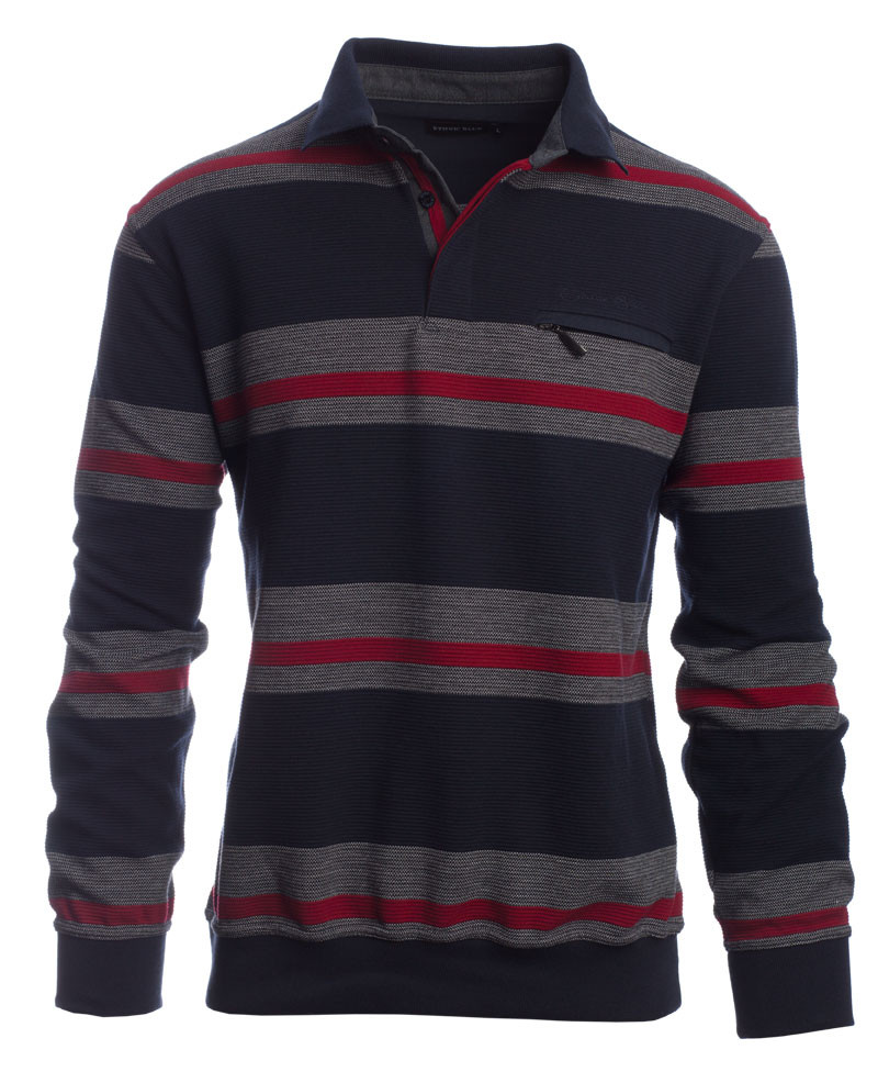 Polo, NAVY / GREY stripes fancy knit - Ethnic Blue