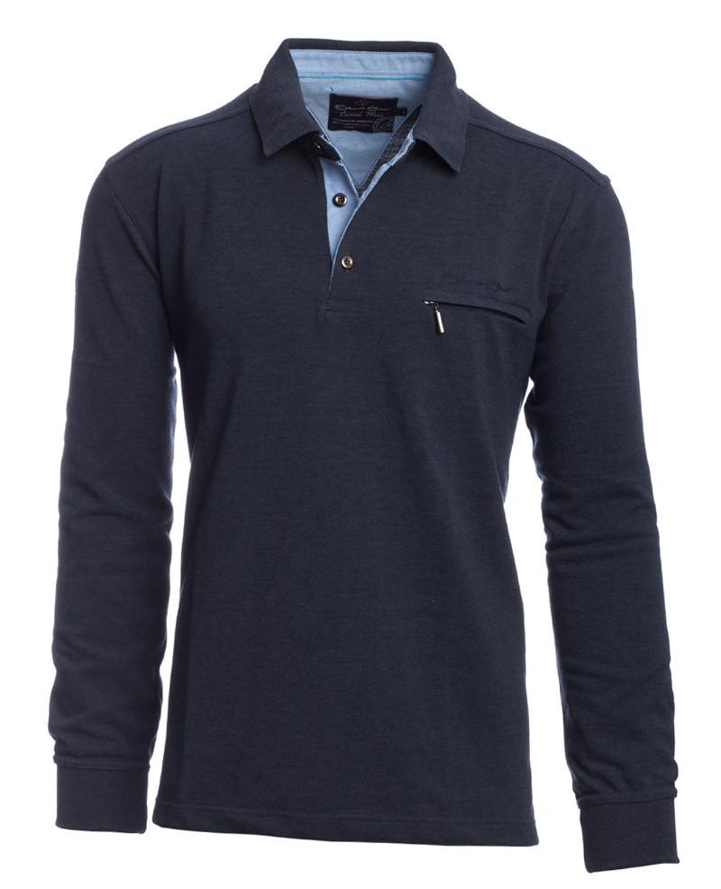 Long sleeve PIQUE polo-shirt, indigo pocket