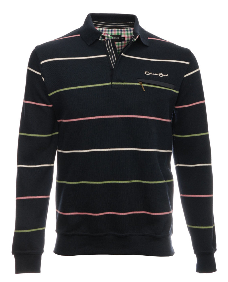 Long sleeve polo-shirt, NAVY / GREEN / PINK / WHITE stripes 3XL 4XL - Ethnic Blue