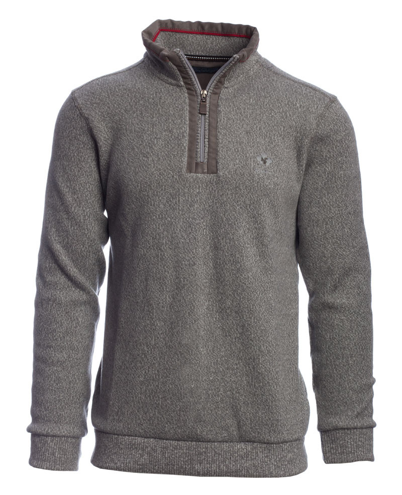 PREMIUM Collection - Zip neck sweater with elbow patchs LIGHT GREY in HEAVY knit - Ethnic Blue