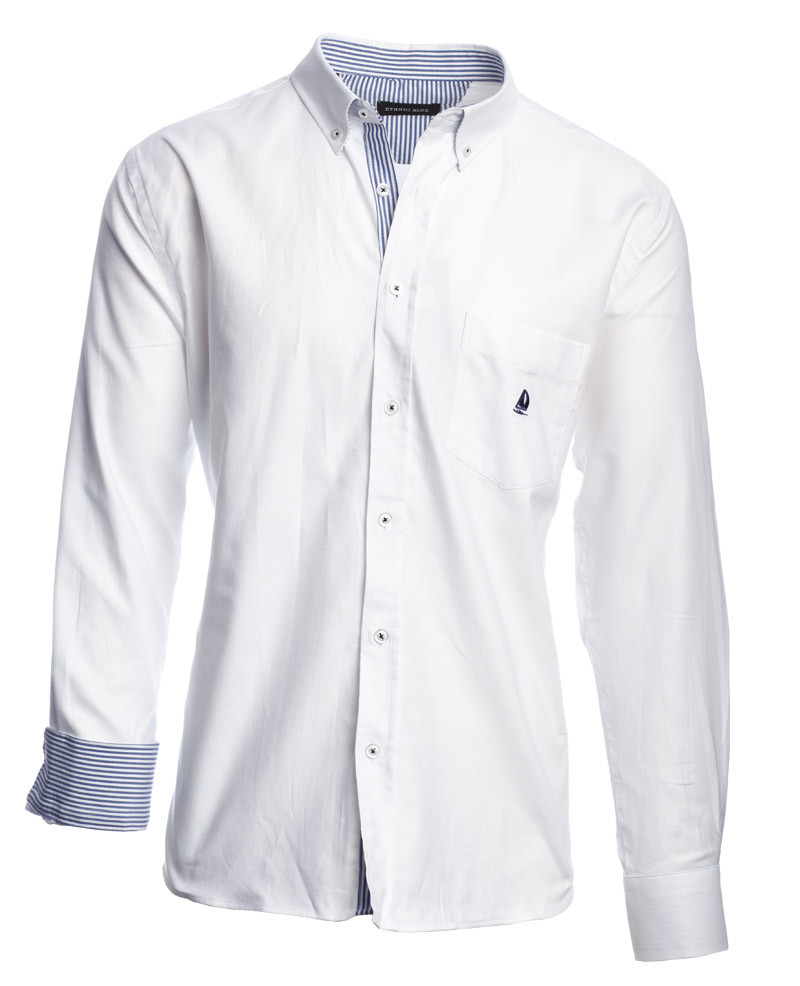 Chemise 100% COTON manches longues OXFORD BLANC - Ethnic Blue