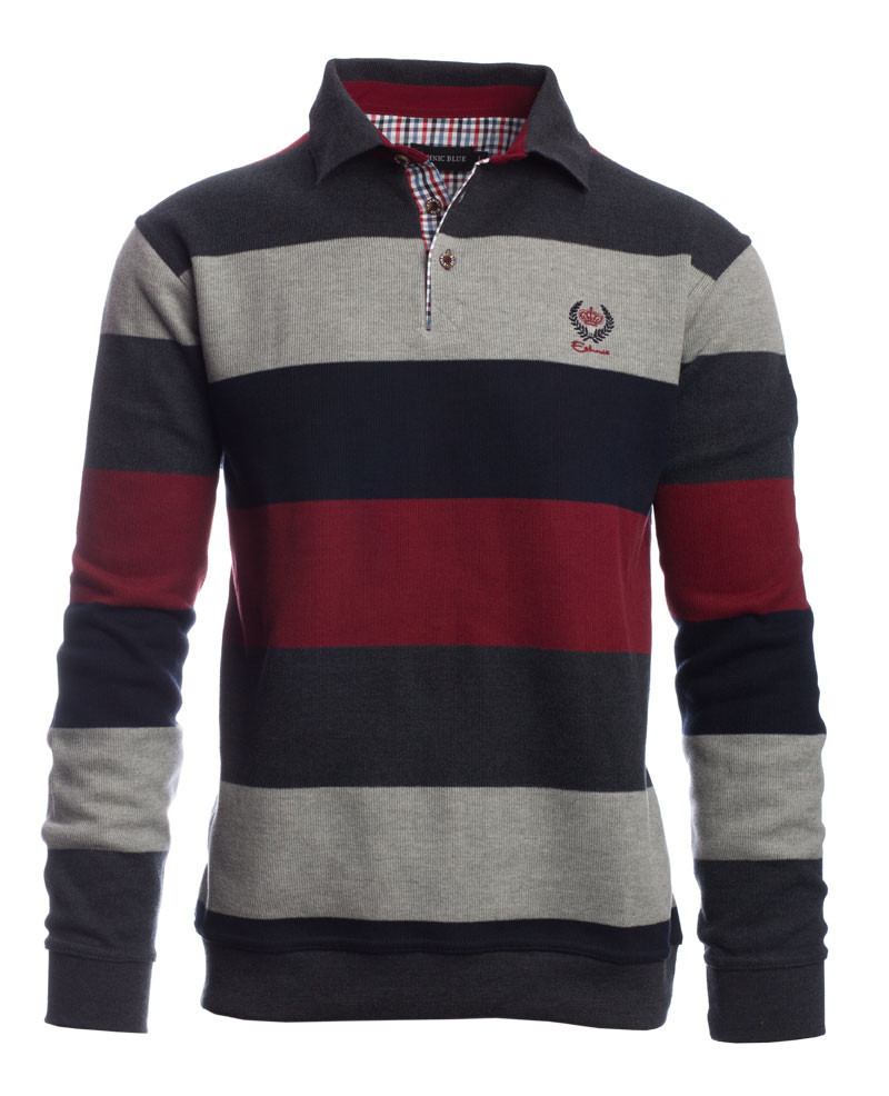 parti bandiera Fornitura  Men's polo, long sleeves, navy grey red stripes, soft touch / Stripe Polo —  Ethnic Blue