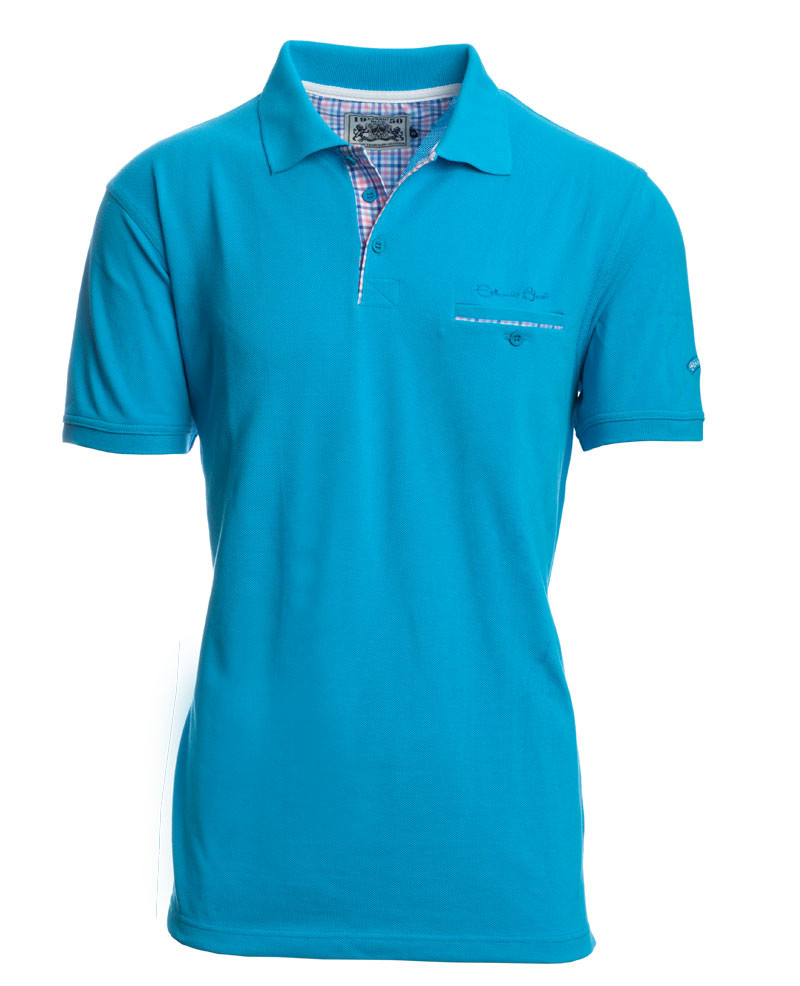 Short sleeve polo-shirt, PACIFIC BLUE piqué with pocket - Ethnic Blue