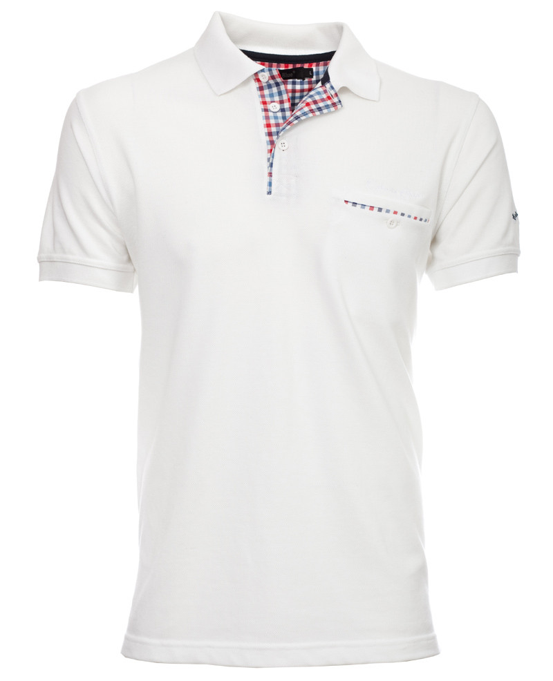 Short sleeve polo-shirt, WHITE piqué with pocket - Ethnic Blue