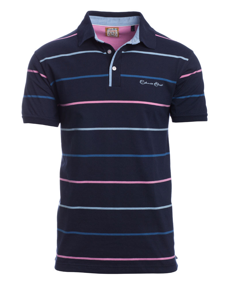 Polo JERSEY manches courtes rayé, MARINE / CIEL /ROSE - Ethnic Blue