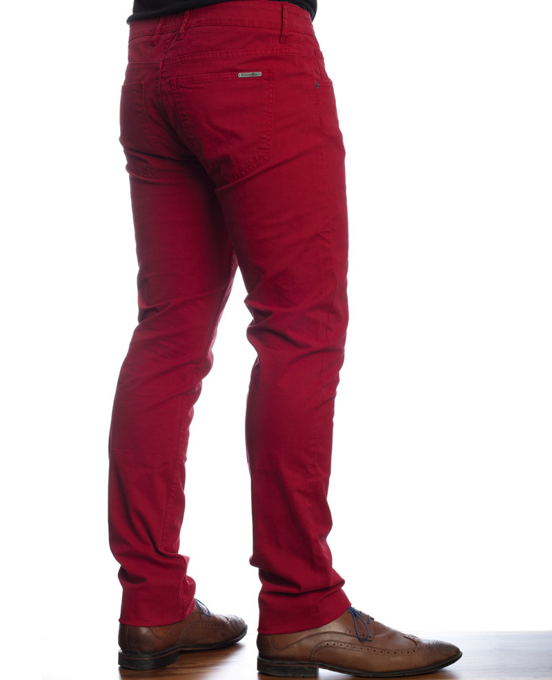PANTALON en toile COTON ELASTHANE coupe 5 poches chino ROUGE - Ethnic Blue
