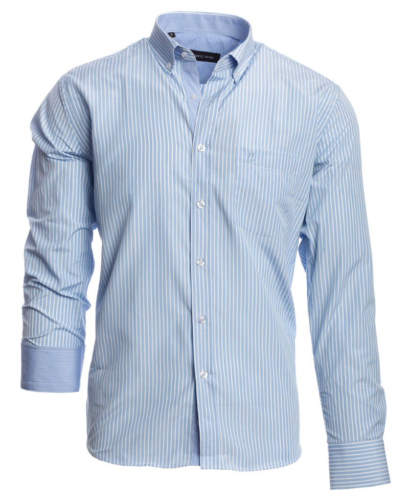 Chemise manches longues, POCHE, rayures verticales ciel blanc - Ethnic Blue