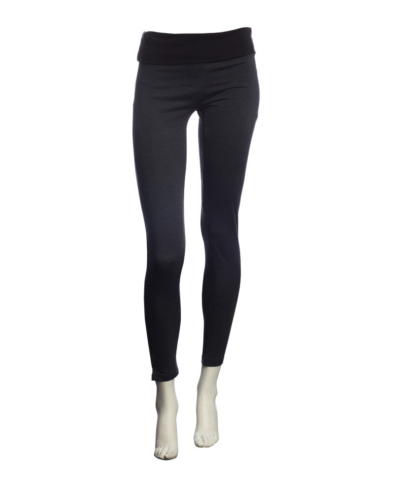 55100afdda5a67 WOMEN'S YOGA PANTS leggings 2 tone high belt DARK GREY - Ethnic Blue ...