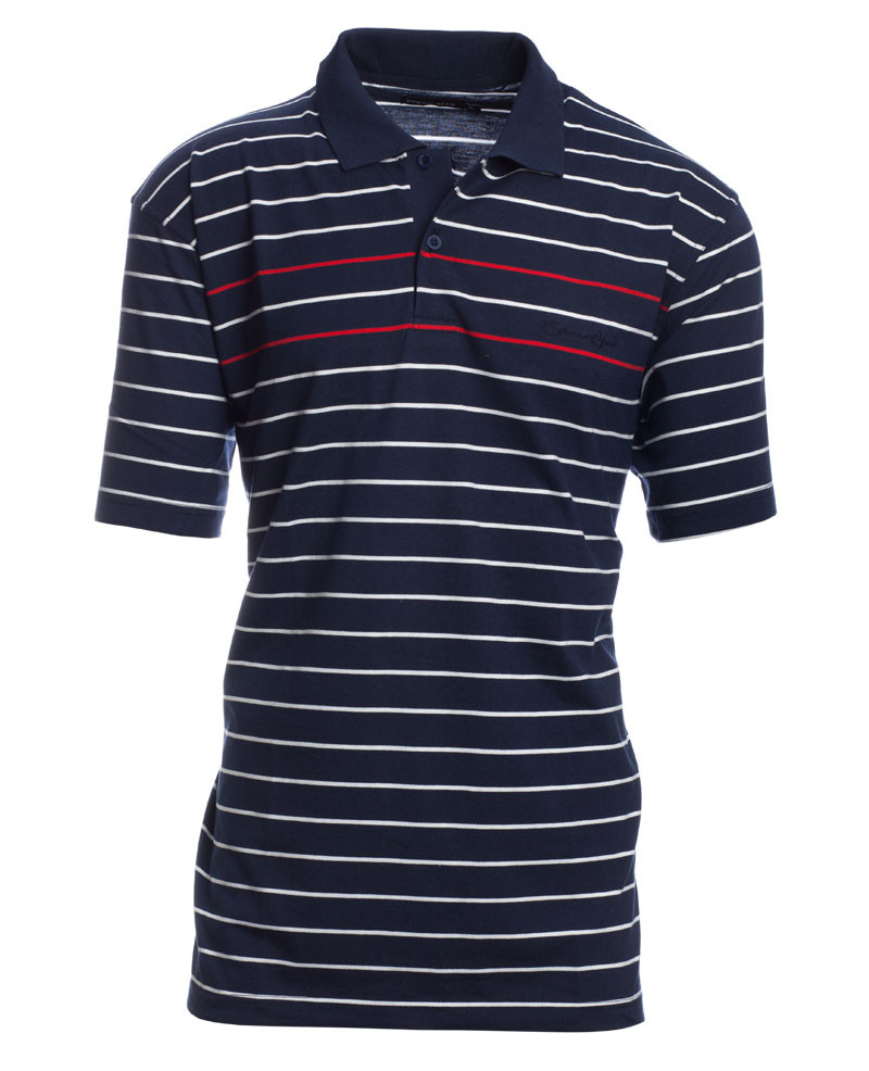 Short sleeve JERSEY polo-shirt, NAVY RED WHITE - Ethnic Blue