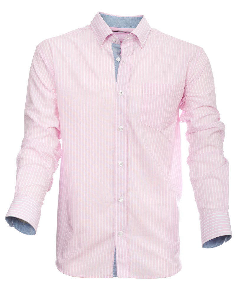 Chemise manches longues, POCHE, rayures rose blanc - Ethnic Blue