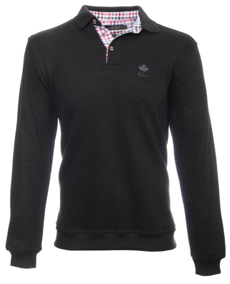 Long sleeve polo-shirt, BLACK soft touch 3XL - 4XL - Ethnic Blue