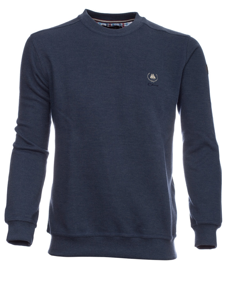 Sweat-shirt col rond uni INDIGO - Ethnic Blue