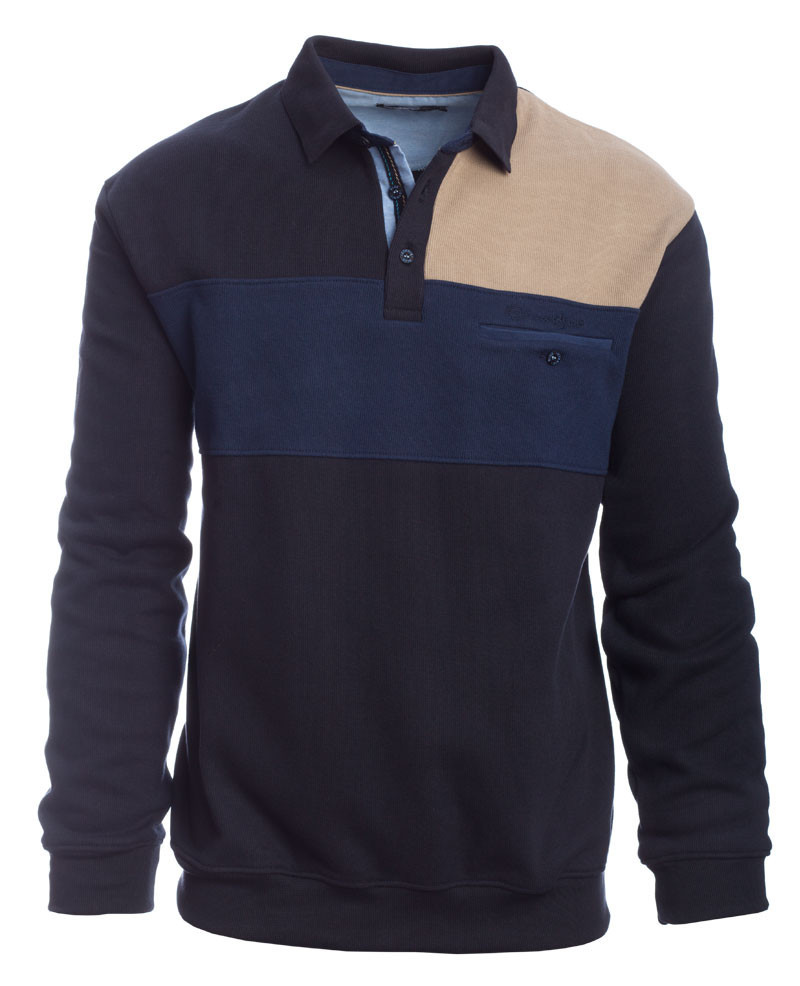 Long sleeve polo-shirt three colors, navy, denim blue, beige, pocket - Ethnic Blue