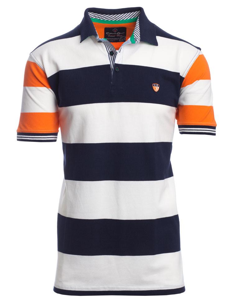 Men S Short Sleeve Polo Shirt Navy Orange White Stripes