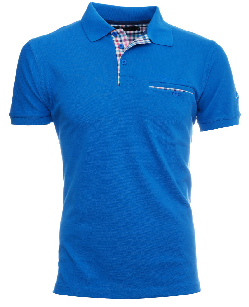 Short sleeve polo-shirt, ROYAL BLUE piqué with pocket - Ethnic Blue