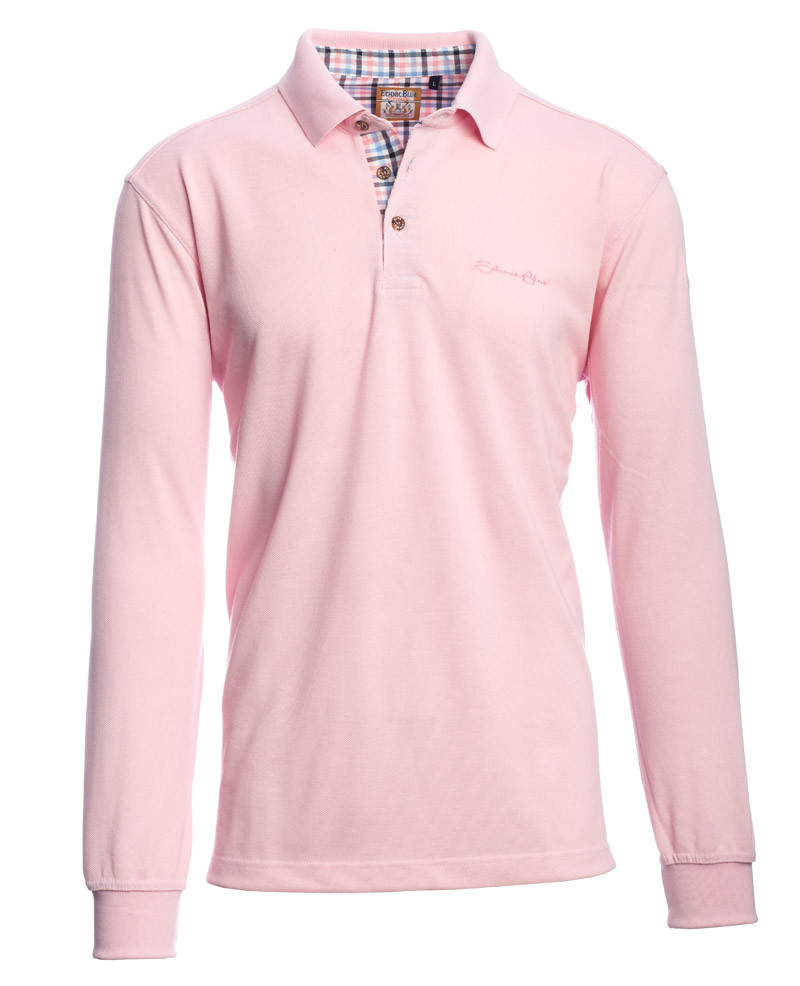 adbab266 Long sleeve PIQUE polo-shirt, PINK - Ethnic Blue Long sleeve PIQUE polo- shirt, PINK - Ethnic Blue