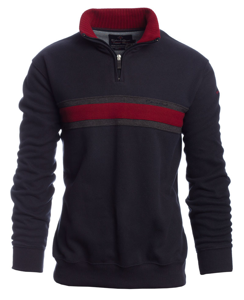Sweat col zip uni MARINE bande ROUGE - Ethnic Blue