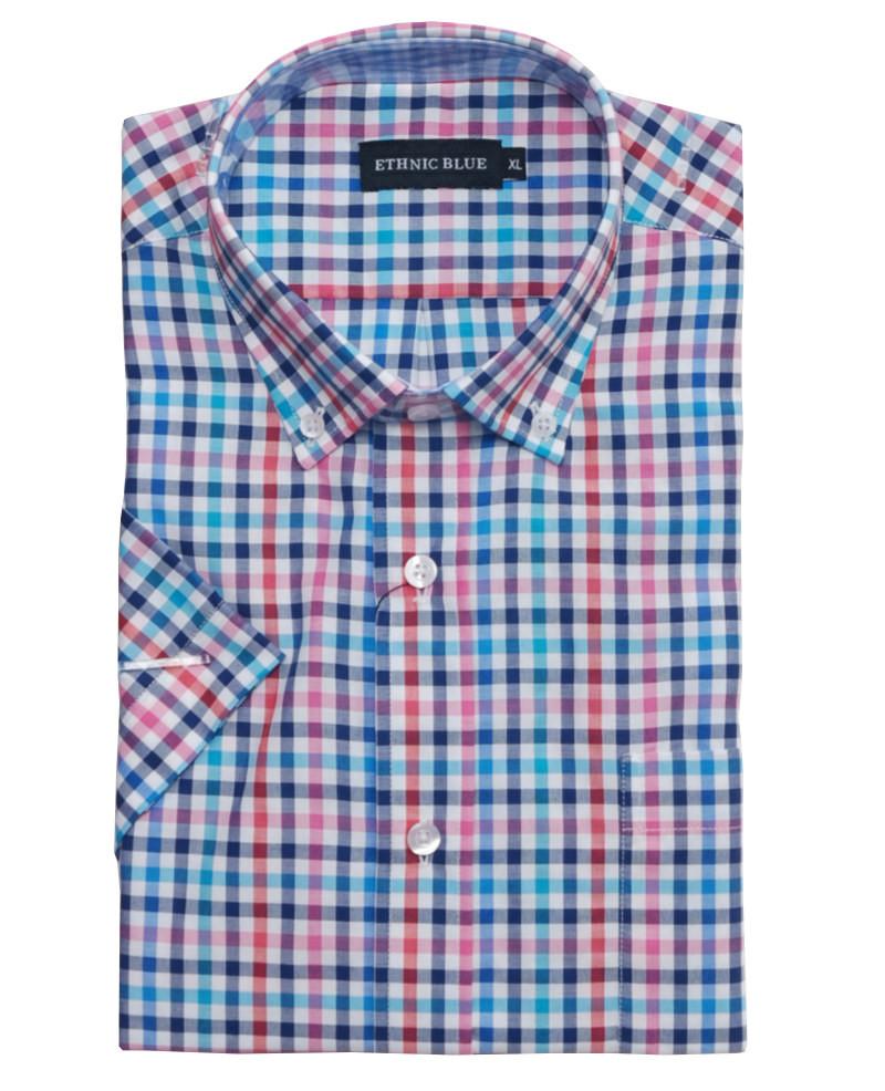 6cfea3b6 Short sleeve shirt, pocket, navy, blue, turquoise, red, pink - Short sleeve  shirt, pocket, navy, blue, turquoise, red, pink -